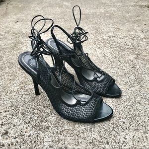 Linea Paolo Caged and Laced Slingback Heels